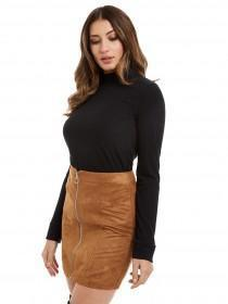 Jane Norman Black High Neck Ribbed Top