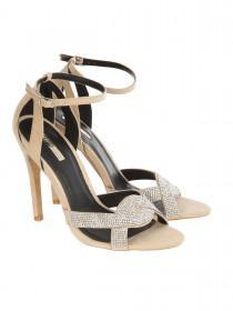 Jane Norman Nude Embellished Twist Strap Heels
