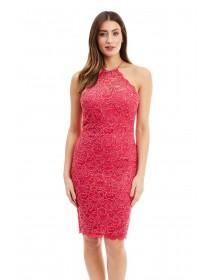 Jane Norman Pink Racer Neck Bodycon Dress