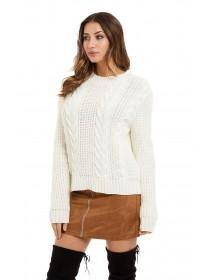 Jane Norman Cream Cable Knit Jumper
