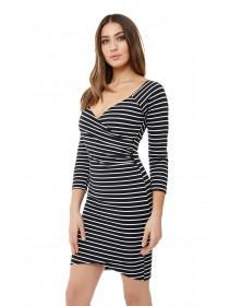 Jane Norman Monochrome Stripe Wrap Dress