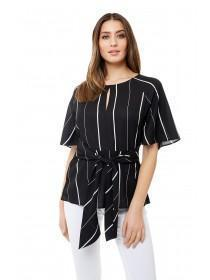 Jane Norman Monochrome Tie Front Blouse