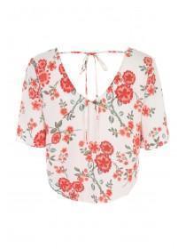 Jane Norman Floral Button Up Tie Front Blouse