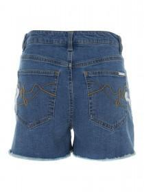 Jane Norman Blue Lace Denim Shorts