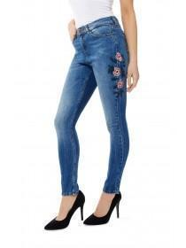 Jane Norman Mid Blue Embroidered Skinny Jeans