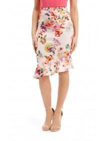 Jane Norman Floral Asymmetric Hem Skirt