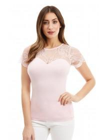 Jane Norman Pink Lace Tie Back Top