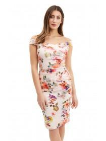 Jane Norman Floral Ruched Bardot Dress