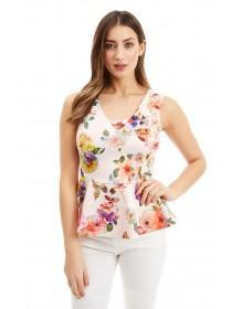 Jane Norman Floral Peplum Hem Top