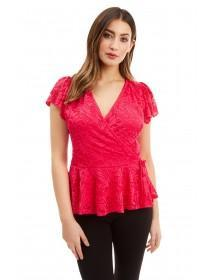 Jane Norman Pink Lace Wrap Top