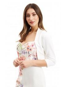 Jane Norman White Peplum Hem Shrug