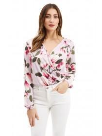 Jane Norman Floral Wrap Over Bodysuit
