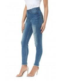 Jane Norman Mid Blue Frayed Hem Jeans