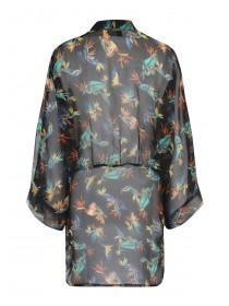 Jane Norman Black Printed Embellished Kimono