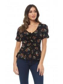 Jane Norman Floral Ruched Front Frill Sleeve Top