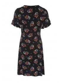 Jane Norman Floral Twist Front Frill Sleeve Dress