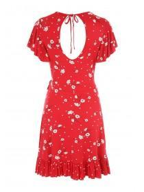 Jane Norman Red Floral Wrap Front Dress