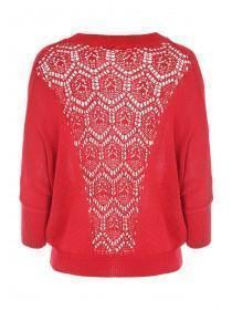 Jane Norman Pink Crotchet Back Batwing Jumper