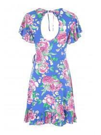 Jane Norman Blue Floral Wrap Front Dress
