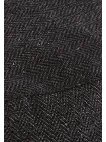 Mens Dark Grey Herringbone Flat Cap