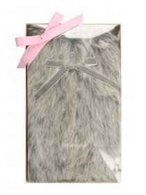 Womens Fur Neck Wrap with Ribbon