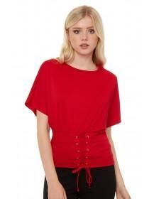 Jane Norman Red Corset Batwing Top