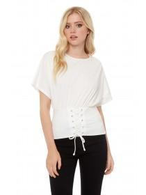 Jane Norman White Corset Batwing Top