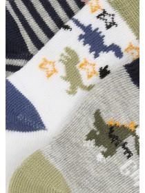 Baby Boys Grey 3pk Dinosaur Socks