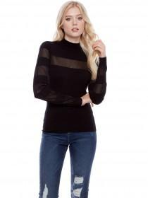 Jane Norman Black Turtle Neck Mesh Jumper
