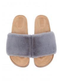 Womens Grey Faux Fur Sliders