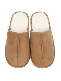 Mens Sherpa Lined Mule Slippers