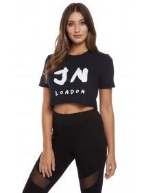Jane Norman Black Cropped Slogan T-Shirt