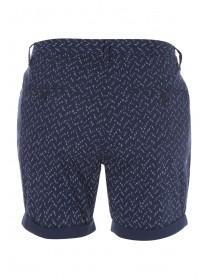 Mens Dark Blue Textured Printed Shorts