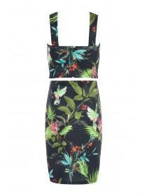 Older Girls Black Floral Cross Front Sophie Top & Skirt Set