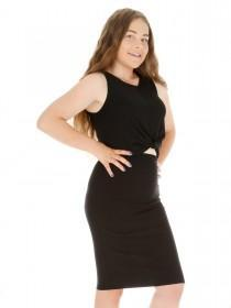Older Girls Black Twisted Sophie Top & Skirt Set