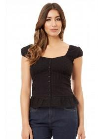 Jane Norman Black Button-Up Top