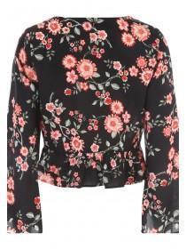 Jane Norman Black Floral Tie Front Blouse