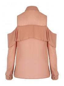 Womens Natural Frilled Cold Shoulder Shirt