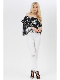 Jane Norman Mono Floral Fluted Sleeve Bardot Top