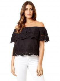Jane Norman Black Crochet Trim Bardot Top