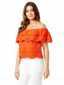 Jane Norman Orange Crochet Trim Bardot Top