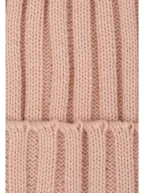 Womens Pink Ribbed Beanie