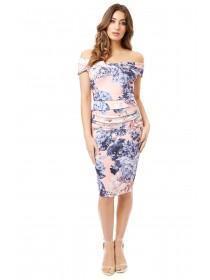 Jane Norman Hydrangea Print Bardot Dress