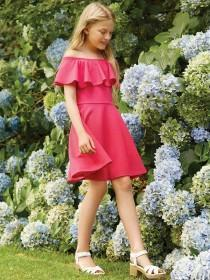 Older Girls Pink Waffle Bardot Dress