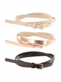 Womens 3Pk Skinny Belts