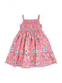 Younger Girls Pink Hibiscus Woven Dress
