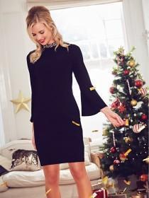 Womens Black Collar Detail Dress