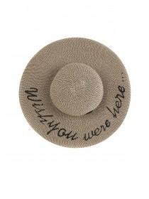 Womens Black Slogan Floppy Hat