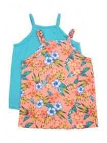 Younger Girls 2PK Orange Hibiscus Strappy Vests