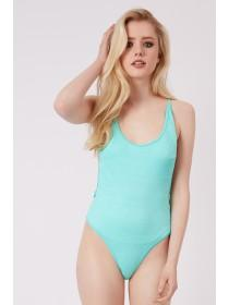 Jane Norman Spearmint Textured Low Back Swimsuit